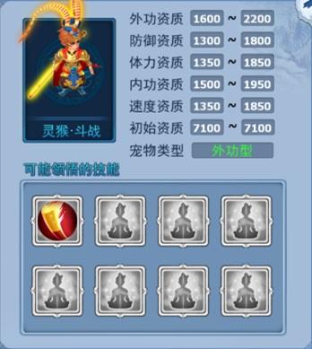 神雕侠侣宠物 神兽灵猴·斗战属性一览-外功猴.jpg