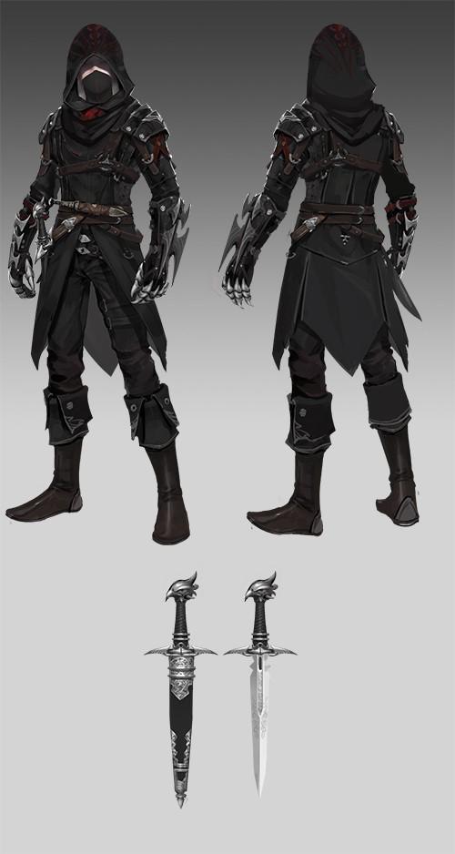 深度揭秘,有图有真相的《神魔大陆》手游武器展-图4:中级刺客的铠甲与武器.jpg
